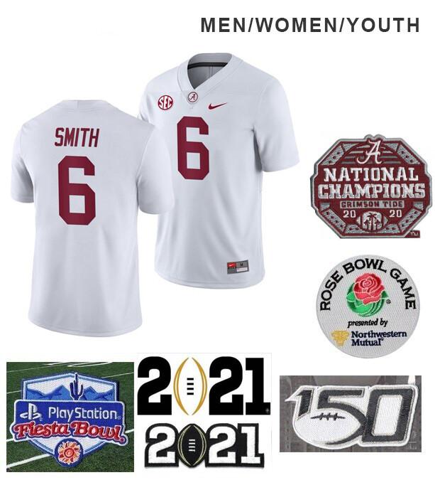 Alabama Crimson Tide #6 DeVonta Smith College NCAA Football White Jersey