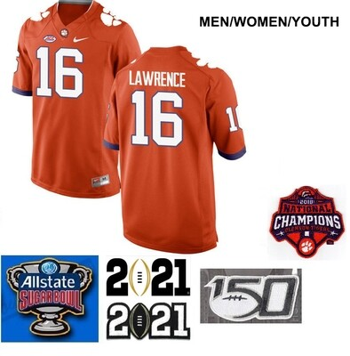 Clemson Tigers #16 Trevor Lawrence Legend Stitched College Football Jersey Orange