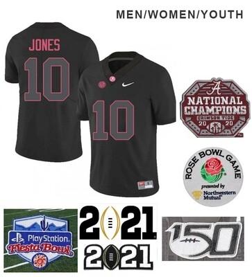 Alabama Crimson Tide #10 Mac Jones Football Black Jersey