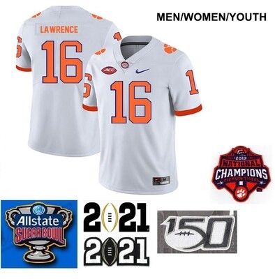 Clemson Tigers #16 Trevor Lawrence Legend Stitched College Football Jersey White
