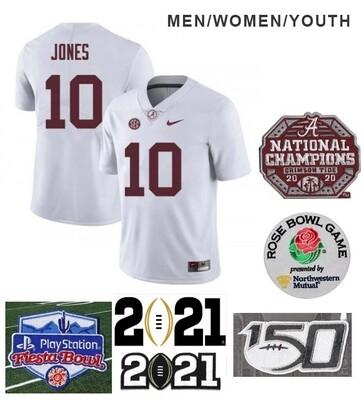 Alabama Crimson Tide #10 Mac Jones Football White Jersey