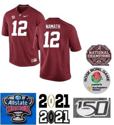 Alabama Crimson Tide #12 Joe Namath NCAA Football Jersey Red