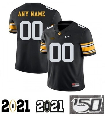 Iowa Hawkeyes Custom Name and Number Football Jersey Black