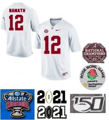 Alabama Crimson Tide #12 Joe Namath NCAA Football Jersey White
