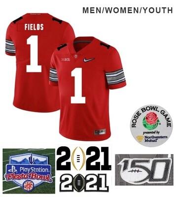 Ohio State Buckeyes #1 Justin Fields College NCAA Football Diamond Jersey Red