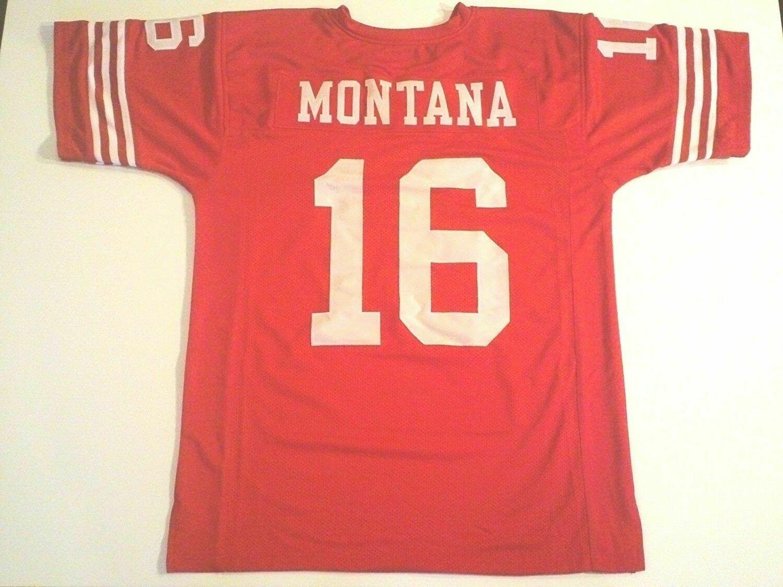 UNSIGNED CUSTOM Sewn Stitched Joe Montana Red Jersey