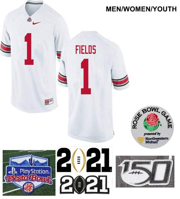 Ohio State Buckeyes #1 Justin Fields College NCAA Football Jersey White