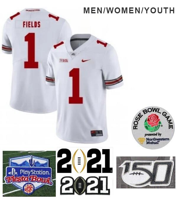 Ohio State Buckeyes #1 Justin Fields College NCAA Football White Jersey
