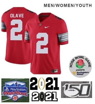 Ohio State Buckeyes #2 Chris Olave Football Red Jersey