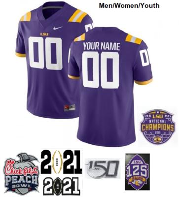 LSU Tigers Custom Name and Number Football Jerseys Purple