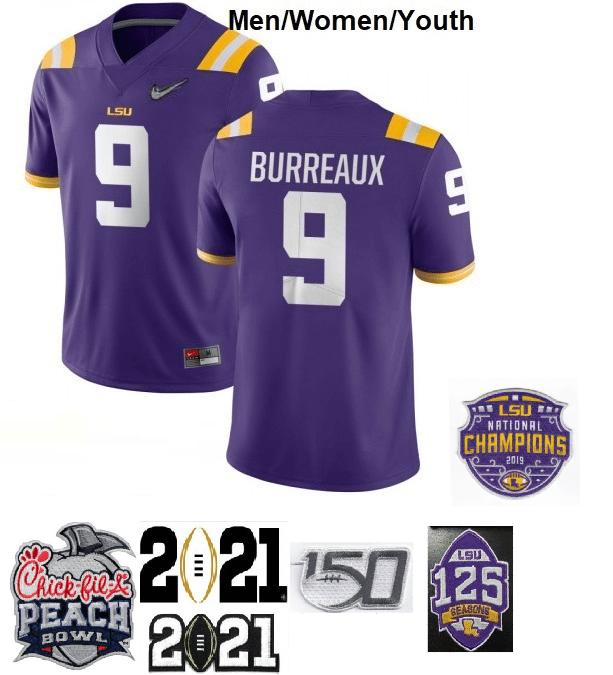LSU Tigers #9 Joe Burreaux Football Jersey Purple Diamond Quest