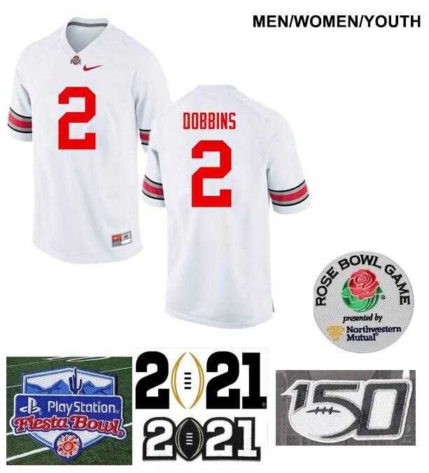 Ohio State Buckeyes #2 J.K. Dobbins College Football Jersey White