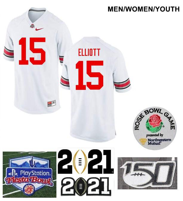 Ohio State Buckeyes #15 Ezekiel Elliott College Football Jersey White