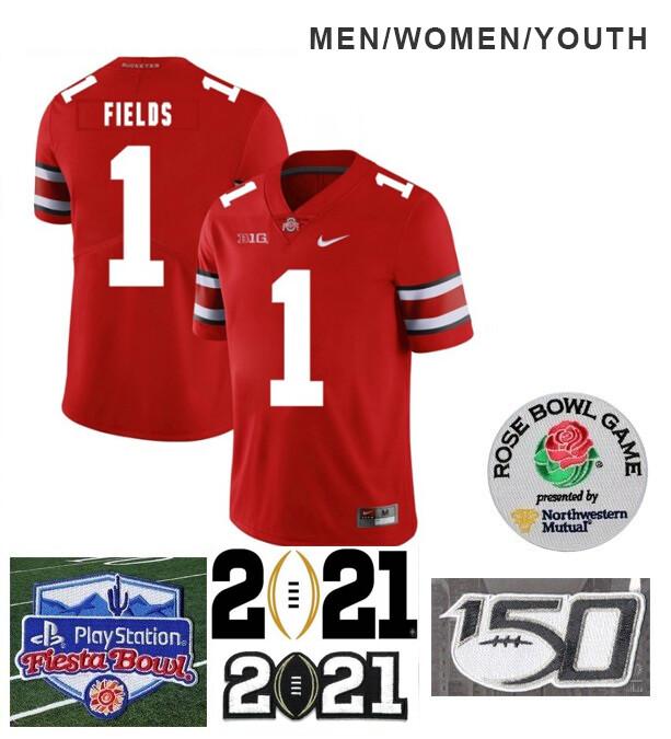 Ohio State Buckeyes #1 Justin Fields College NCAA Football Jersey Red