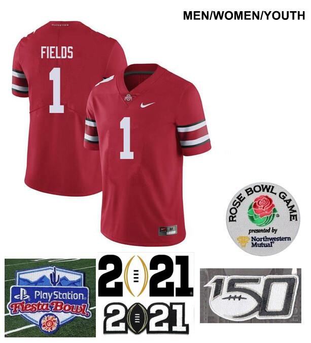Ohio State Buckeyes #1 Justin Fields College NCAA Football Red Jersey