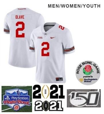 Ohio State Buckeyes #2 Chris Olave NCAA Football Jersey White