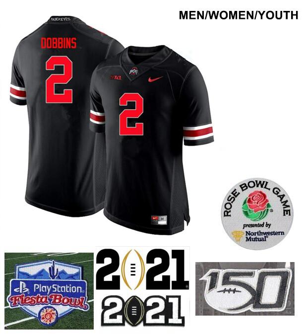 Ohio State Buckeyes #2 J.K. Dobbins College Football Black Jersey