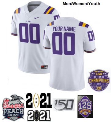 LSU Tigers Custom Name and Number Football Jerseys White
