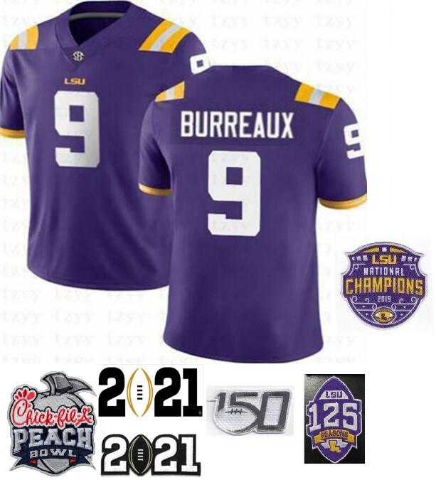 LSU Tigers #9 Joe Burreaux Football Jersey Purple