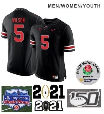 Ohio State Buckeyes #5 Garrett Wilson Football Black Jersey