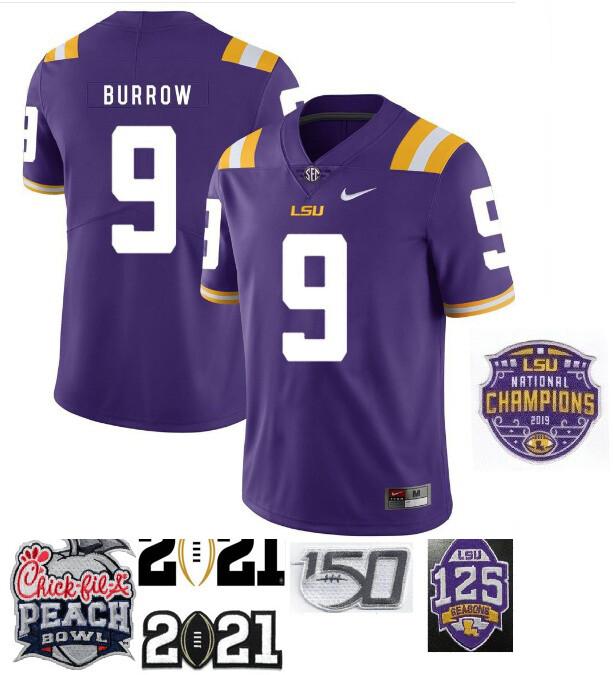 LSU Tigers #9 Joe Burrow Football Jersey Purple