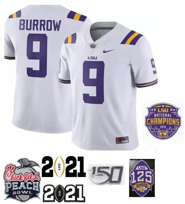 LSU Tigers #9 Joe Burrow Football Jersey White