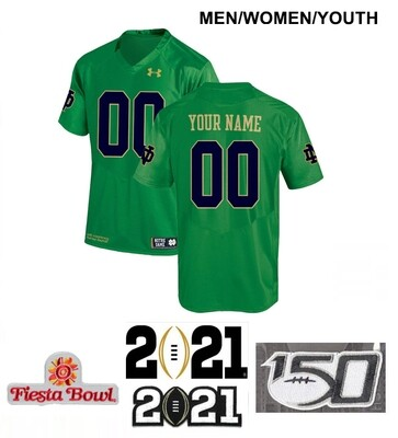 Notre Dame Fighting Irish Custom Name and Number Football Jersey Green