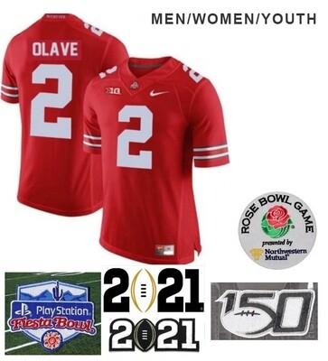 Ohio State Buckeyes #2 Chris Olave NCAA Football Jersey Red