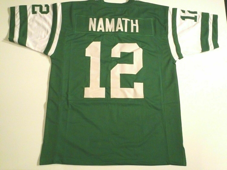 UNSIGNED CUSTOM Sewn Stitched Joe Namath Green Jersey