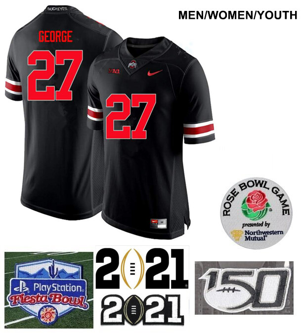 Ohio State Buckeyes #27 Eddie George College Football Black Jersey