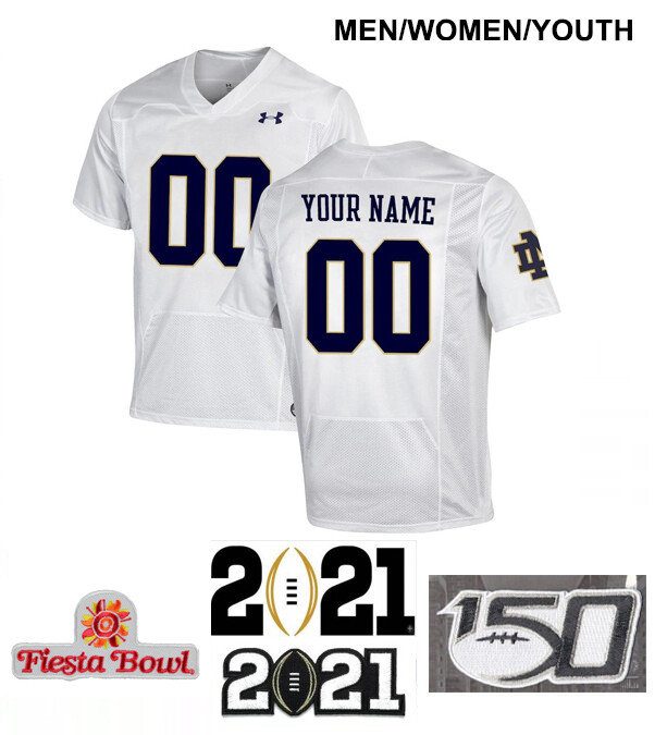 Notre Dame Fighting Irish Custom Name and Number Football Jersey White