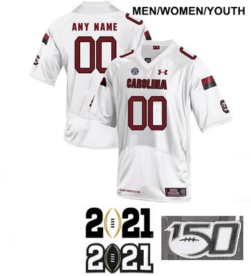 South Carolina Gamecocks Custom Name and Number Football White