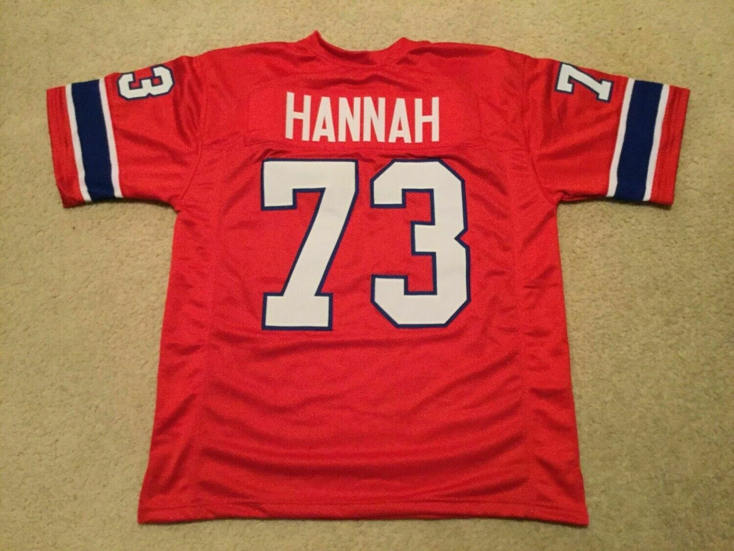 UNSIGNED CUSTOM Sewn Stitched John Hannah Red Jersey