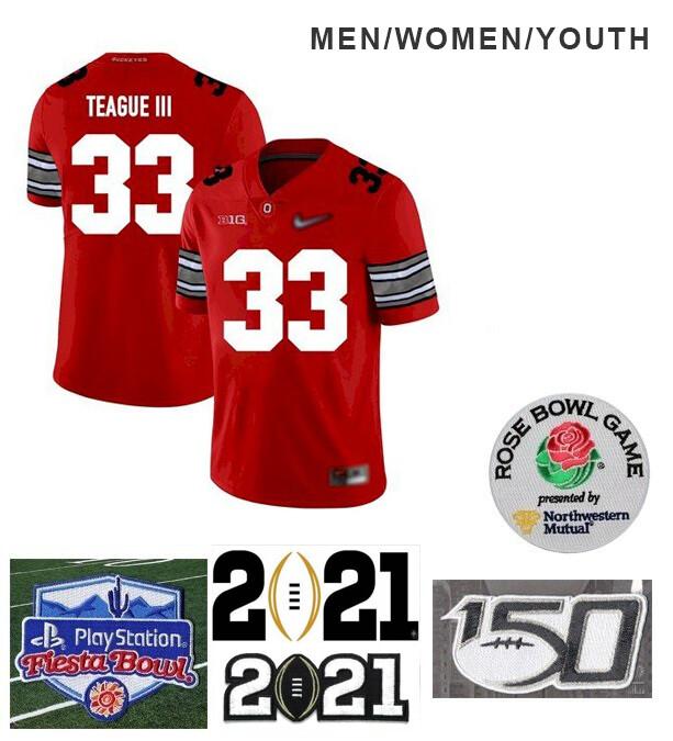 Ohio State Buckeyes #33 Master Teague Football Red Jersey