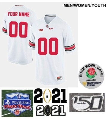 Ohio State Buckeyes Custom Name and Number Football Jersey White
