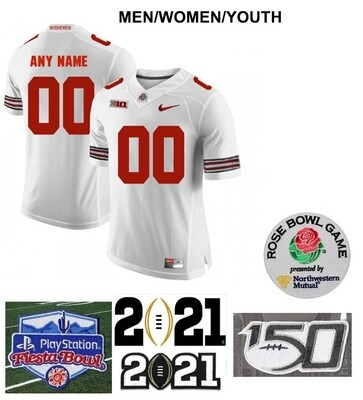 Ohio State Buckeyes Custom Name and Number Football White Jersey