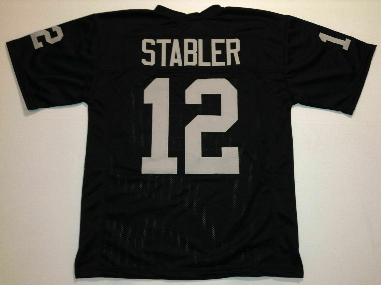 UNSIGNED CUSTOM Sewn Stitched Ken Stabler Black Jersey