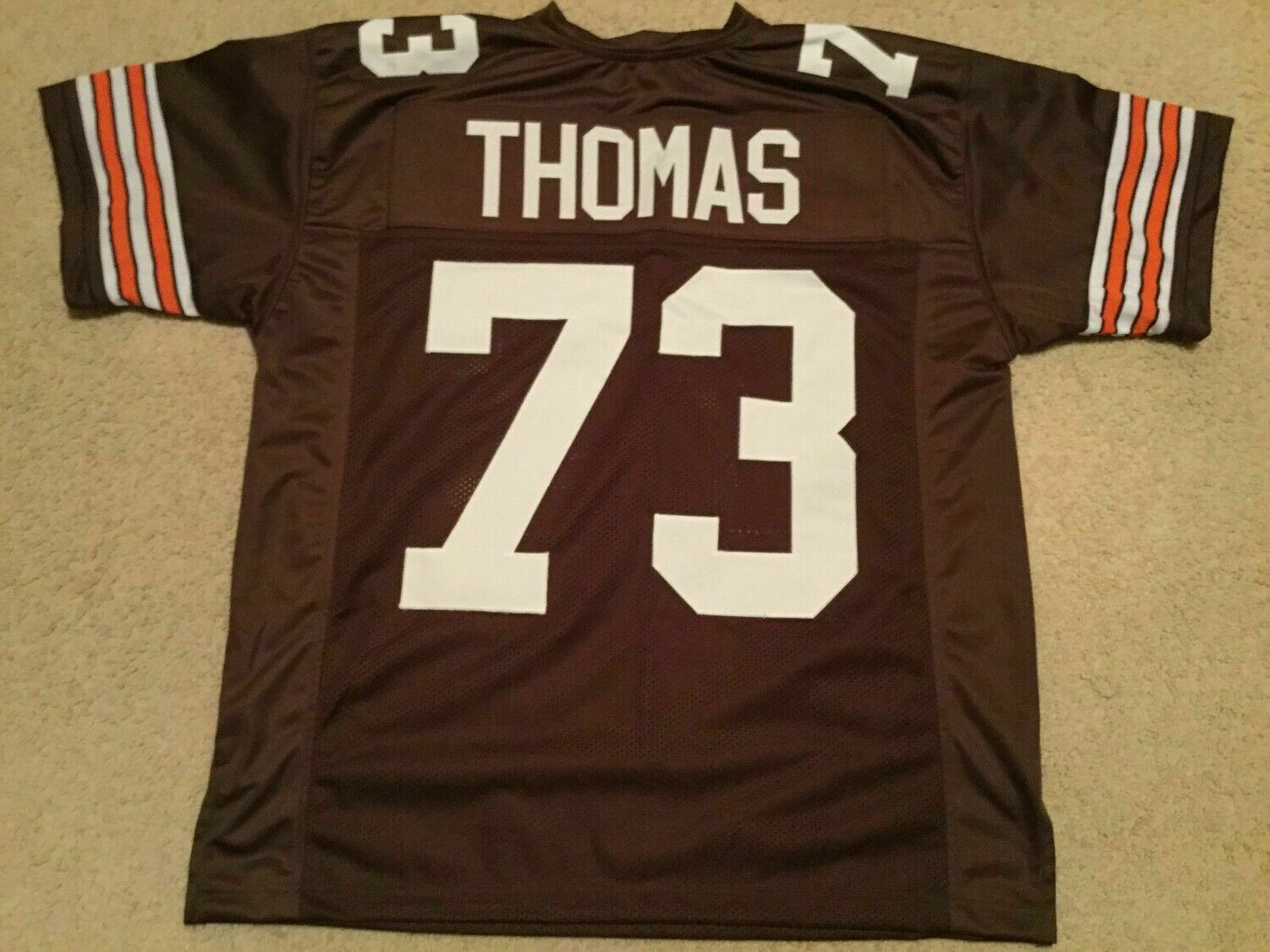 UNSIGNED CUSTOM Sewn Stitched Joe Thomas Old Style Brown Jersey