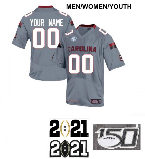 South Carolina Gamecocks Custom Name and Number Football Grey