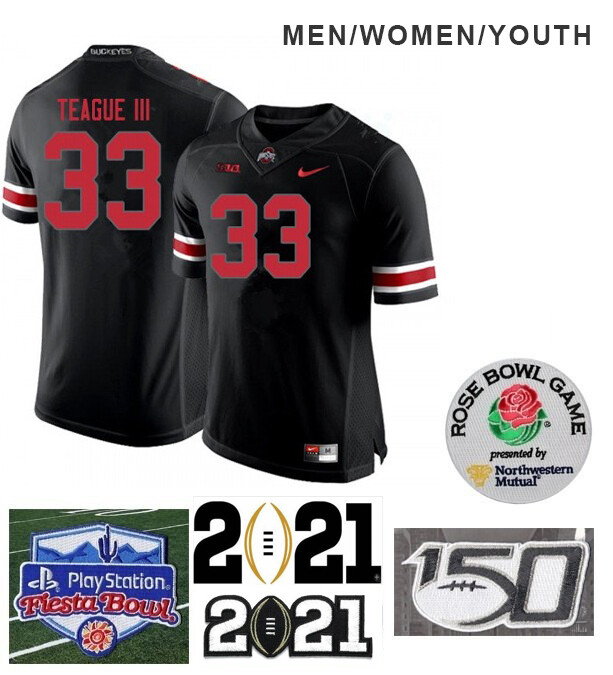 Ohio State Buckeyes #33 Master Teague Football Jersey Black