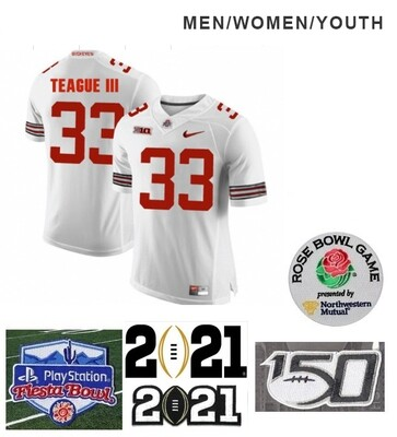 Ohio State Buckeyes #33 Master Teague Football Jersey White