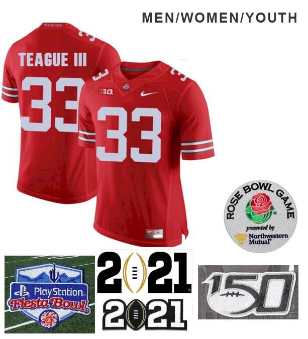 Ohio State Buckeyes #33 Master Teague Football Jersey Red