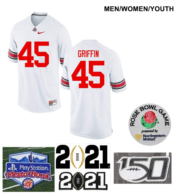 Ohio State Buckeyes #45 Archie Griffin Football Jersey White