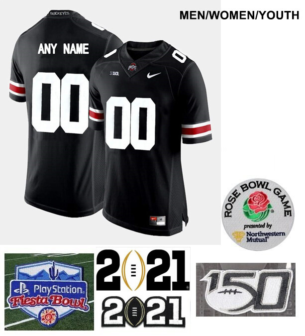 Ohio State Buckeyes Custom Name and Number Football Black Jersey
