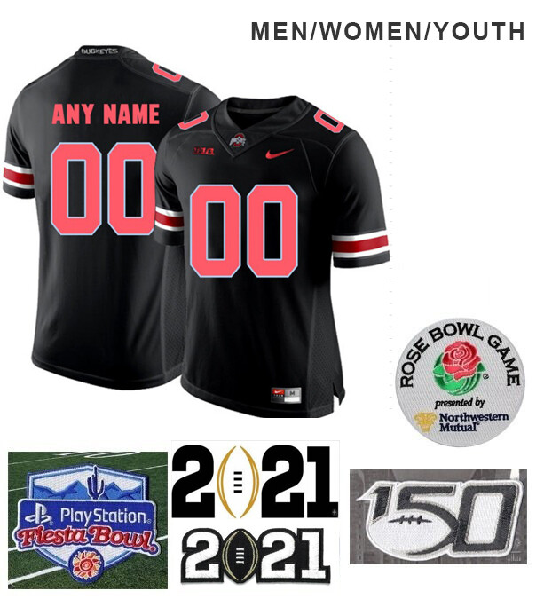 Ohio State Buckeyes Custom Name and Number Football Jersey Black