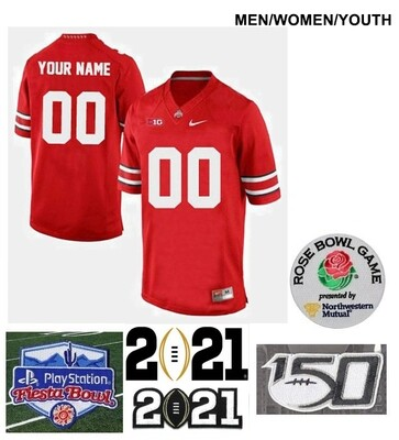 Ohio State Buckeyes Custom Name and Number Football Jersey Red