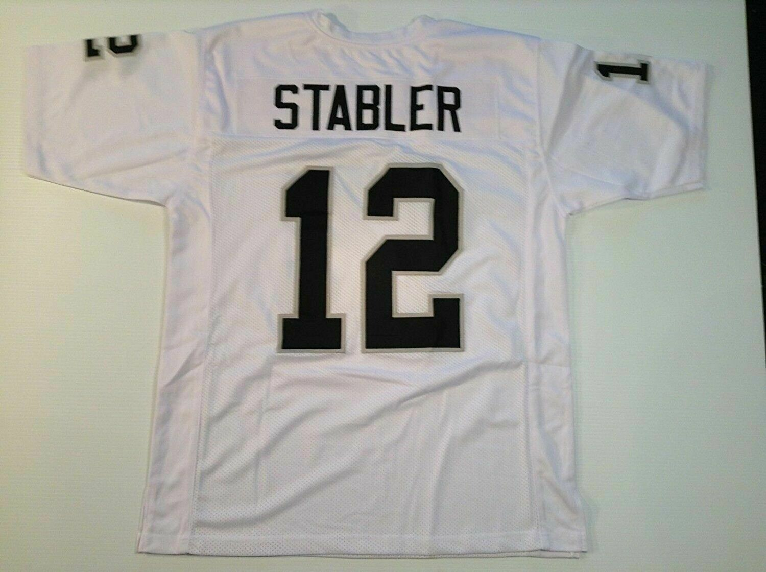 UNSIGNED CUSTOM Sewn Stitched Ken Stabler White Jersey