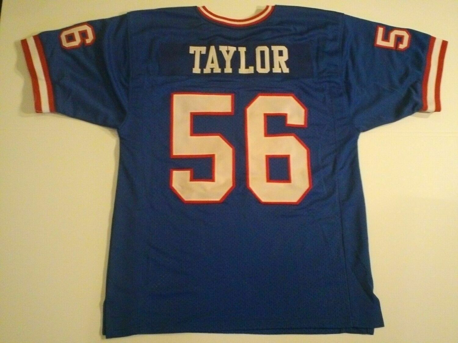 UNSIGNED CUSTOM Sewn Stitched Lawrence Taylor Blue Jersey