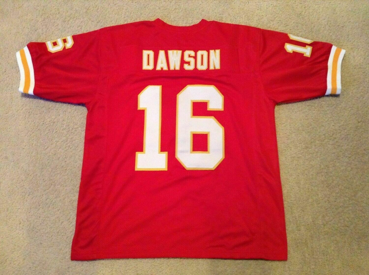 UNSIGNED CUSTOM Sewn Stitched Len Dawson Red Jersey