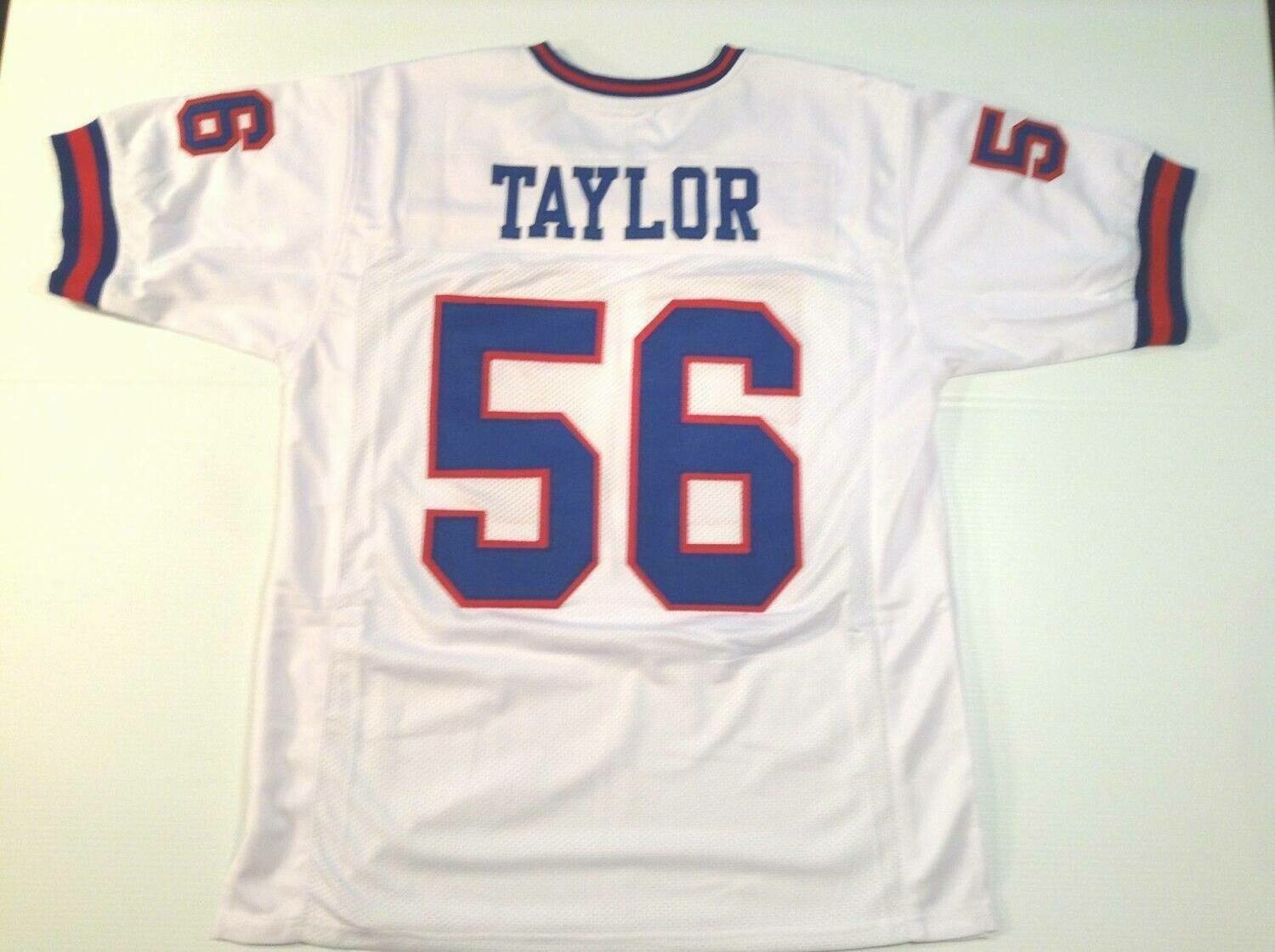 UNSIGNED CUSTOM Sewn Stitched Lawrence Taylor White Jersey